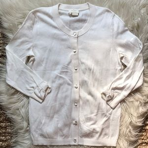 Kate Spade cashmere blend cream bow sleeve sweater